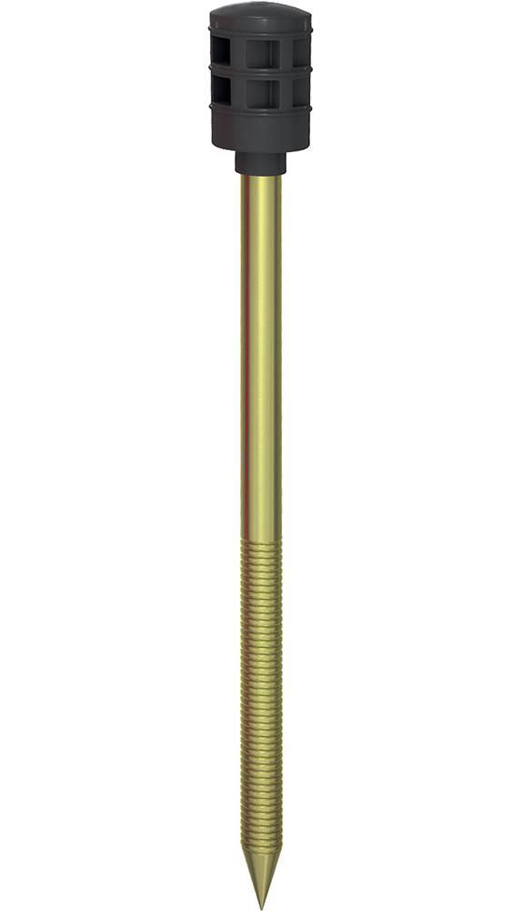 Стена 2MT. Полимерный тарельчатый дюбель с рёбрами ограничения глубины и забивным металлическим распорным элементом с мелкой накаткой и термоизоляционной головкой