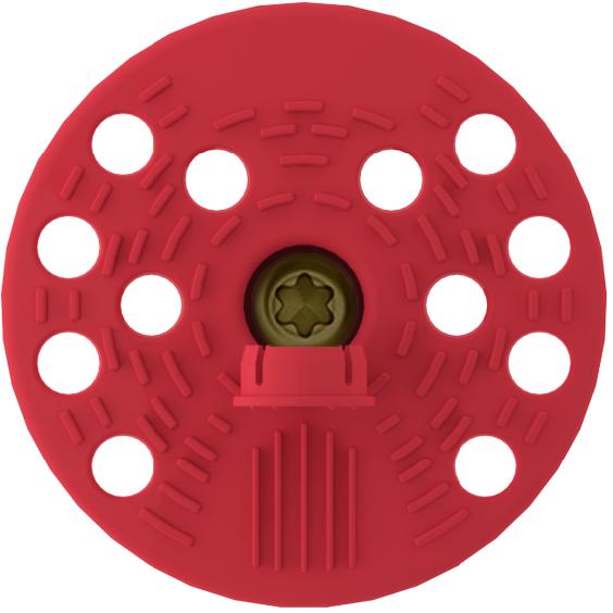 Стена ISOL MS. Полимерный тарельчатый дюбель с специальной тепло- и гидроизоляционной заглушкой, укомплектованный вкручиваемым распорным элементом