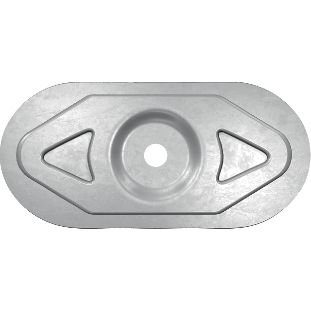 Steel disk-shaped element for fastening rolled water insulation materials to bearing and enclosure structures made of metal sheet, concrete or wood