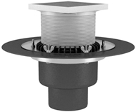 Heated roof funnel with crimp flange, self-regulated electric heating secures operability of the water drainage during winter, autumn and spring, completed with a gulley and D2 drainage flange.