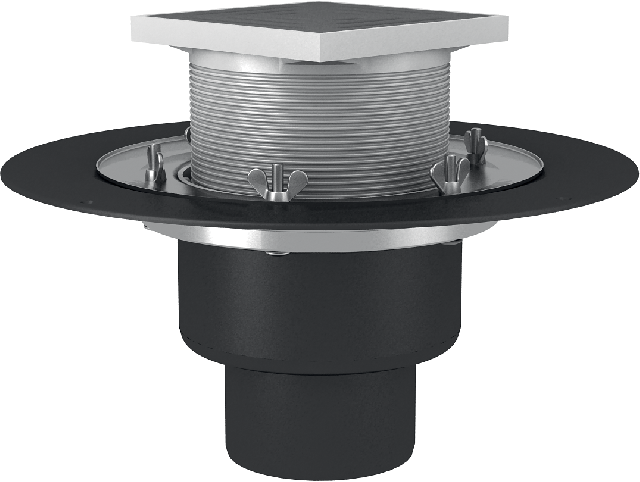 Heated roof funnel with crimp flange, self-regulated electric heating secures operability of the water drainage during winter, autumn and spring, completed with a thrust ring