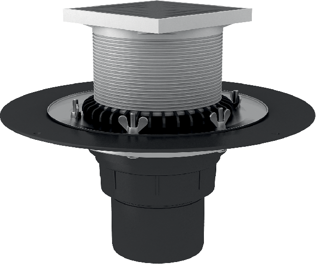 Roof funnel with crimp flange, completed with a gulley with D2 drainage flange