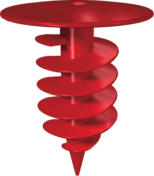 A polymer screw dowel with a disk-shaped holder