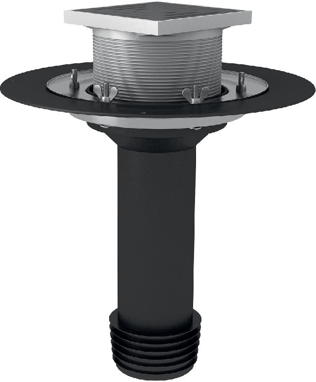 Roof maintenance funnel, to be assembled with steel, iron or plastic pipes ∅110 mm, completed with a sealing cup and a gulley with a D2 drainage flange