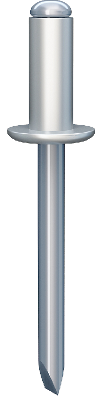 A breakstem rivet with an open end, a coming-off mandrel