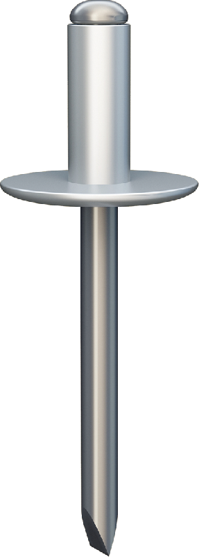 A breakstem rivet with an open end, a coming-off mandrel and an enlarged rib