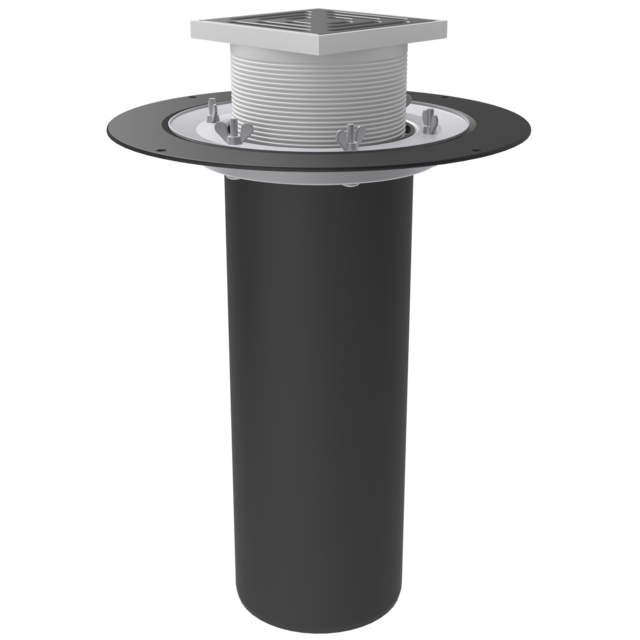Roof funnel with crimp flange, completed with a gulley with a thrust ring