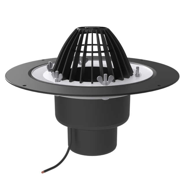 Heated roof funnel, with crimp flange